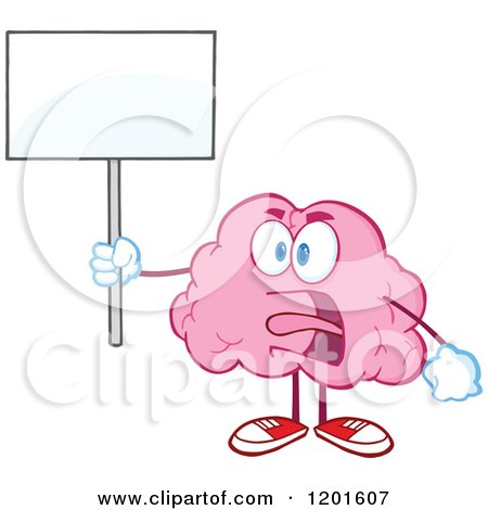 Cartoon of a Pink Brain Mascot Shouting and Holding a Sign - Royalty Free Vector Clipart by Hit Toon