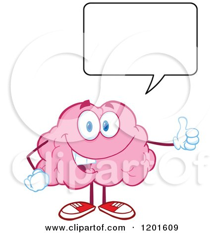 Cartoon of a Pleased Pink Brain Mascot Talking and Holding a Thumb up - Royalty Free Vector Clipart by Hit Toon