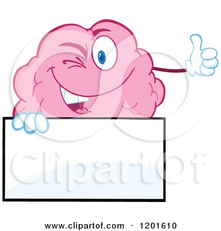 Cartoon of a Pink Brain Mascot Winking and Holding a Thumb up over a Sign - Royalty Free Vector Clipart by Hit Toon