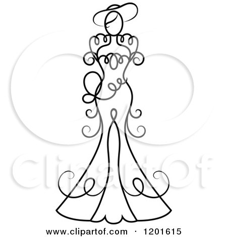 Clipart of a Black and White Swirly Bride in a Wedding Dress or Gown 4 - Royalty Free Vector Illustration by Vector Tradition SM