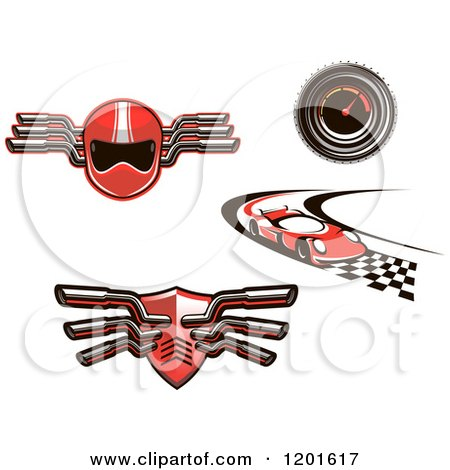 Clipart of Red Auto Racing Helmet Muffler Car and Speedometer Designs - Royalty Free Vector Illustration by Vector Tradition SM