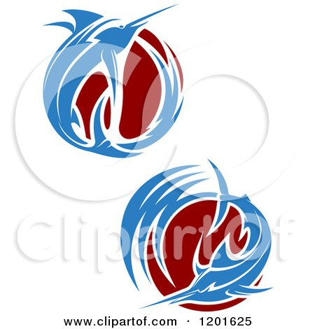 Clipart of Leaping Marlin Fish and Waves - Royalty Free Vector Illustration by Vector Tradition SM