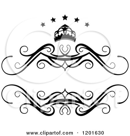 Clipart of a Vintage Black and White Frame with a Crown and Stars 3 - Royalty Free Vector Illustration by Vector Tradition SM