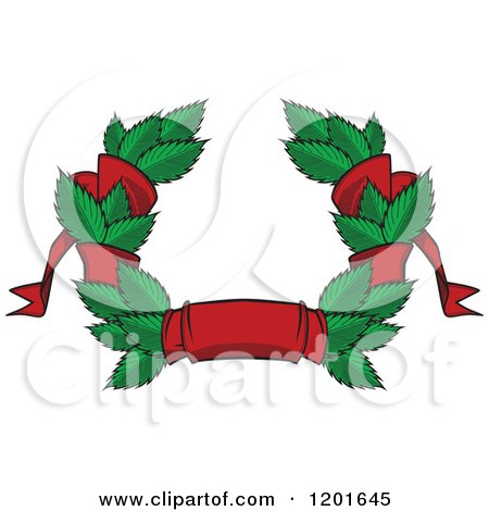 Clipart of a Green Leaf and Red Ribbon Wreath Coat of Arms - Royalty Free Vector Illustration by Vector Tradition SM