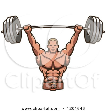 Clipart of a Strong Male Bodybuilder Lifting a Barbell Weight - Royalty Free Vector Illustration by Vector Tradition SM