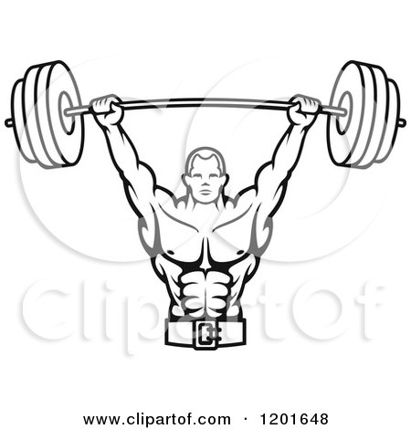 Black And White Male Bodybuilder Lifting A Barbell Weight 1201648 on happy birthday in binary