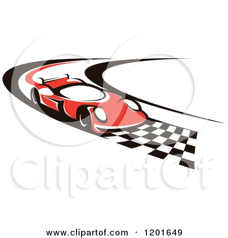 Clipart of a Red Race Car Driving down a Checkered Speedway - Royalty Free Vector Illustration by Vector Tradition SM