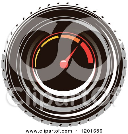 Clipart of a Round Race Car Speedometer - Royalty Free Vector Illustration by Vector Tradition SM