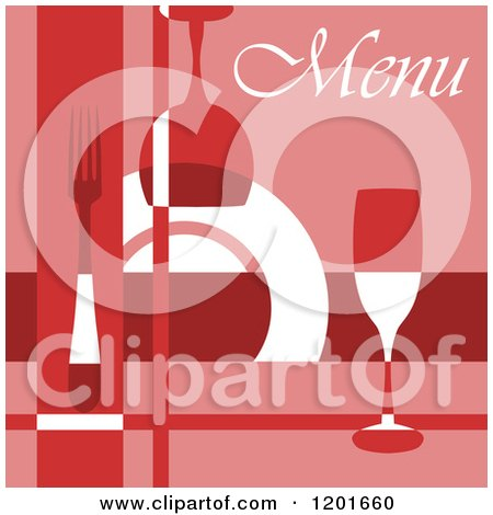 Clipart of a Red Menu with Glasses and Silveware and a Plate - Royalty Free Vector Illustration by Vector Tradition SM