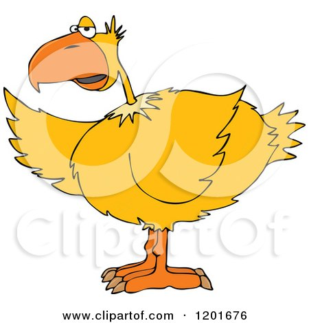 Cartoon of a Yellow Bird Pointing with a Wing - Royalty Free Vector Clipart by djart