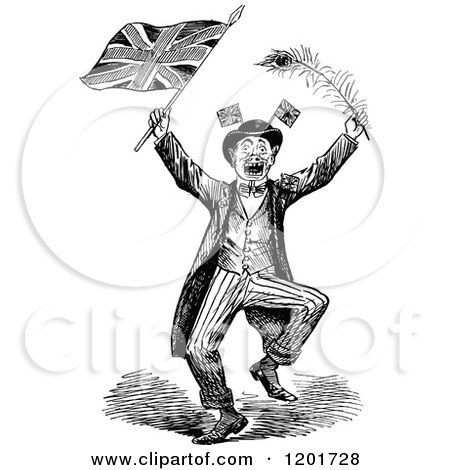 Clipart of a Vintage Black and White Britsh Patriot with a Flag and Peacock Feather - Royalty Free Vector Illustration by Prawny Vintage
