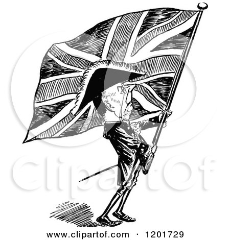 Clipart of a Vintage Black and White Britsh Patriot with a Flag - Royalty Free Vector Illustration by Prawny Vintage