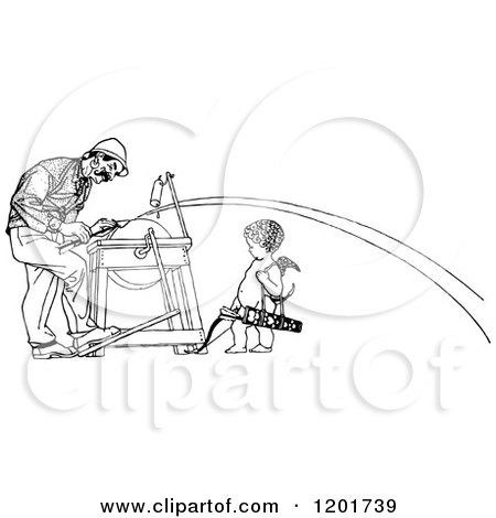 Clipart of a Vintage Black and White Man Being Shot with Cupids Arrow - Royalty Free Vector Illustration by Prawny Vintage