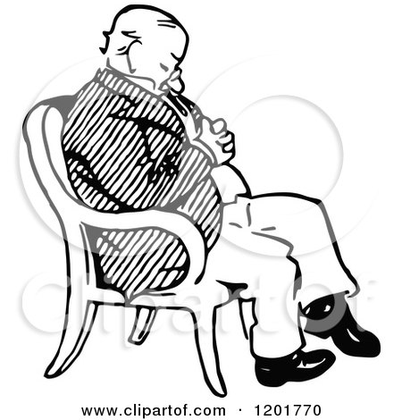 Clipart of a Vintage Black and White Old Man Sleeping in a Chair - Royalty Free Vector Illustration by Prawny Vintage