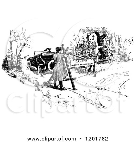 Clipart of a Vintage Black and White Man Driving His Vintage Car down a Blocked Road - Royalty Free Vector Illustration by Prawny Vintage