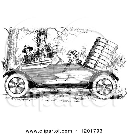 Clipart of a Vintage Black and White Man Driving a Vintage Car by a Woman - Royalty Free Vector Illustration by Prawny Vintage