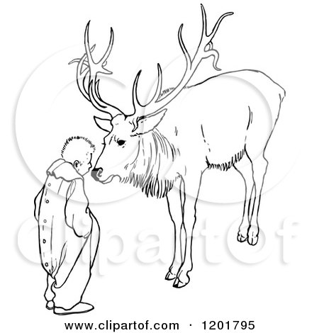 Clipart of a Vintage Black and White Boy and Elk - Royalty Free Vector Illustration by Prawny Vintage