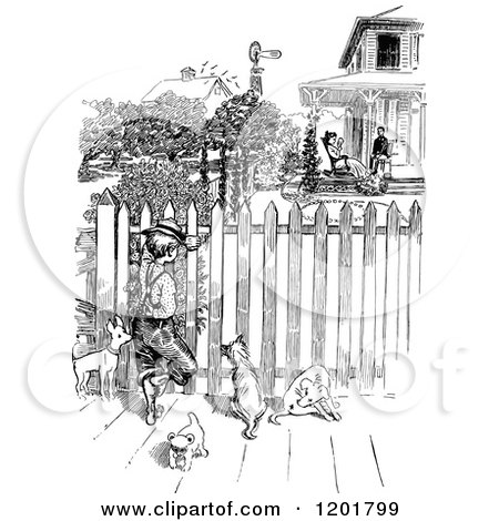 Clipart of a Vintage Black and White Boy with Dogs Spying Through a Fence - Royalty Free Vector Illustration by Prawny Vintage
