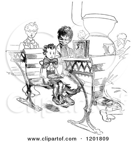 Clipart of Vintage Black and White Brothers in a Class Room - Royalty Free Vector Illustration by Prawny Vintage