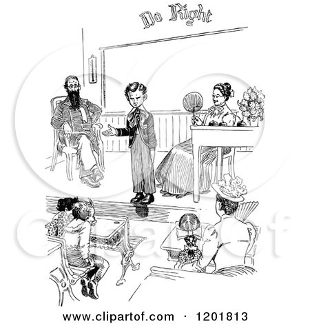 Clipart of a Vintage Black and White School Boy Giving a Speech - Royalty Free Vector Illustration by Prawny Vintage