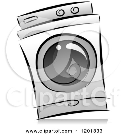 Clipart of a Grayscale Washing Machine - Royalty Free Vector Illustration by BNP Design Studio
