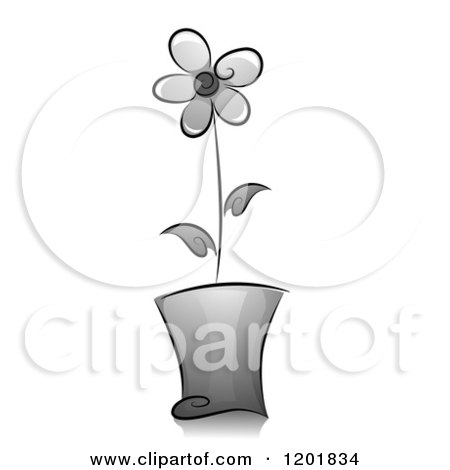 Clipart of a Grayscale Potted Flower - Royalty Free Vector Illustration by BNP Design Studio