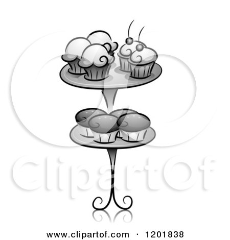 Clipart of Grayscale Cupcakes on a Stand - Royalty Free Vector Illustration by BNP Design Studio