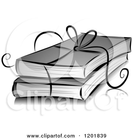 Clipart of a Grayscale Ribbon Tied Around Books - Royalty Free Vector Illustration by BNP Design Studio