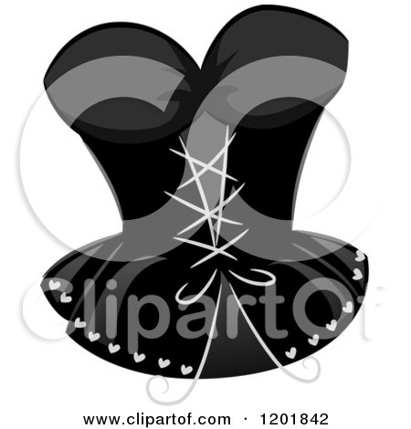 Clipart of a Grayscale Sexy Corset - Royalty Free Vector Illustration by BNP Design Studio