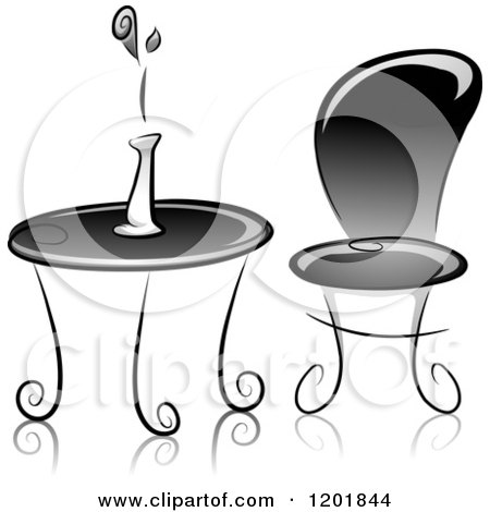 Clipart of a Grayscale Table and Chair with a Flower Vase - Royalty Free Vector Illustration by BNP Design Studio
