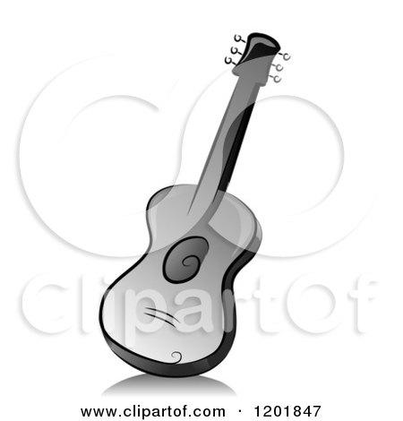 Clipart of a Grayscale Guitar - Royalty Free Vector Illustration by BNP Design Studio
