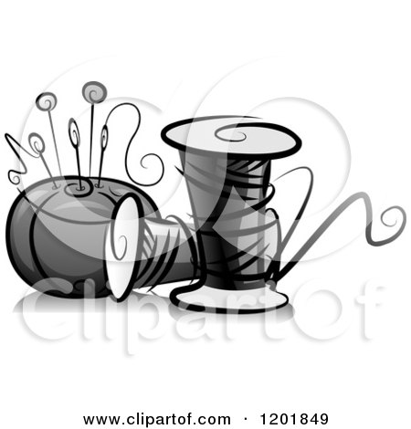 Clipart of a Grayscale Pin Cushing and Sewing Thread - Royalty Free Vector Illustration by BNP Design Studio
