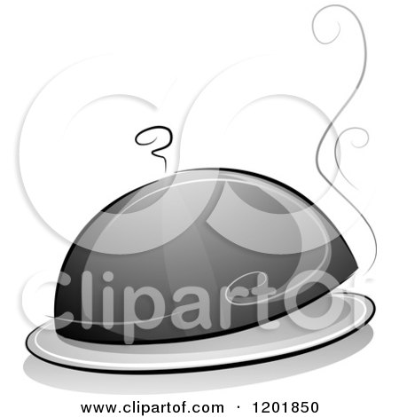 Clipart of a Grayscale Cloche Platter with Steam - Royalty Free Vector Illustration by BNP Design Studio