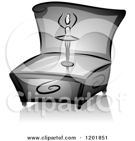 Clipart of a Grayscale Dancing Ballerina Music Box - Royalty Free Vector Illustration by BNP Design Studio
