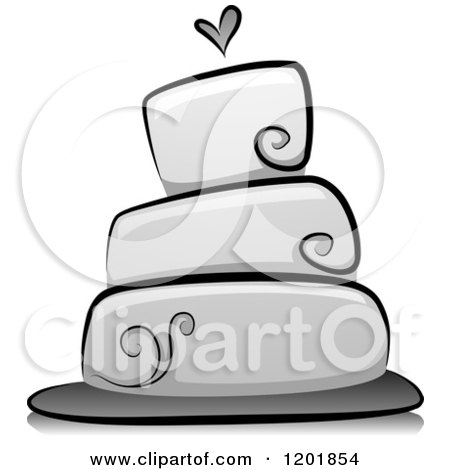 Clipart of a Grayscale Wedding Cake - Royalty Free Vector Illustration by BNP Design Studio