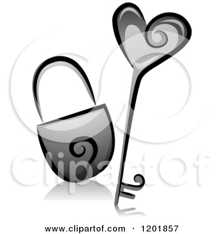 Clipart of a Grayscale Heart Key and Padlock - Royalty Free Vector Illustration by BNP Design Studio