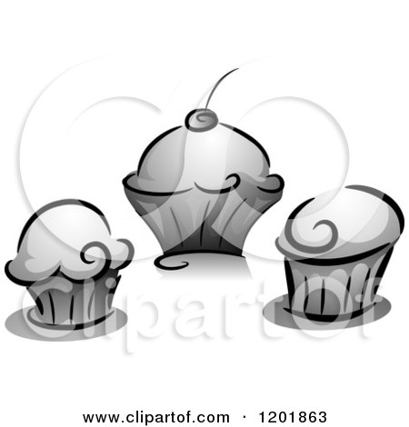 Clipart of Grayscale Cupcakes - Royalty Free Vector Illustration by BNP Design Studio