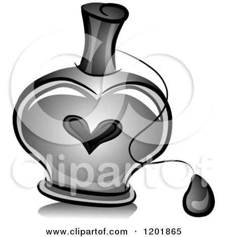Clipart of a Grayscale Heart Perfume Bottle - Royalty Free Vector Illustration by BNP Design Studio