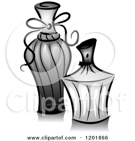 Clipart of Grayscale Perfume Bottles - Royalty Free Vector Illustration by BNP Design Studio