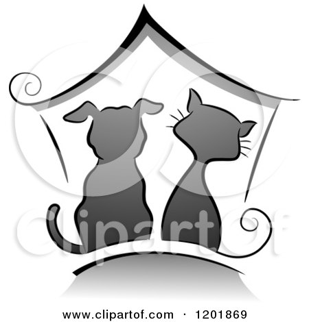 Clipart of a Grayscale Cat and Dog Under a House - Royalty Free Vector Illustration by BNP Design Studio