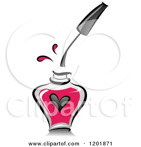 Clipart of a Bottle of Pink Nail Polish with a Dripping Brush and Heart - Royalty Free Vector Illustration by BNP Design Studio