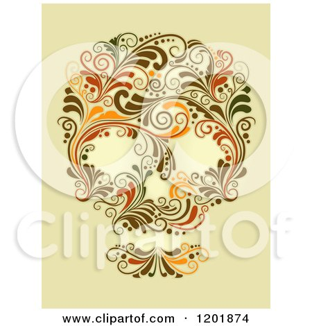 Clipart of a Floral Skull Made of Vines on Aged Yellow - Royalty Free Vector Illustration by BNP Design Studio