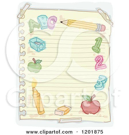 Clipart of a Page of Ruled Paper with Doodles - Royalty Free Vector Illustration by BNP Design Studio