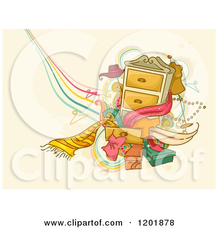 Clipart of a Dresser with Accessories and Clothes over Tan Grunge - Royalty Free Vector Illustration by BNP Design Studio