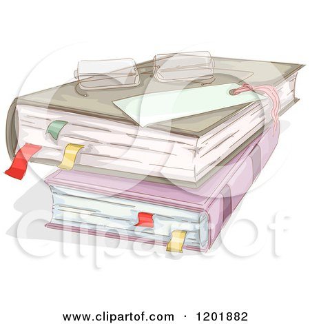 Clipart of Reading Glasses on Stacked Books with Marked Pages - Royalty Free Vector Illustration by BNP Design Studio
