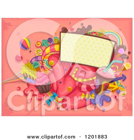 Clipart of a Sign with Colorful Sweets and Candy on Pink Grunge - Royalty Free Vector Illustration by BNP Design Studio