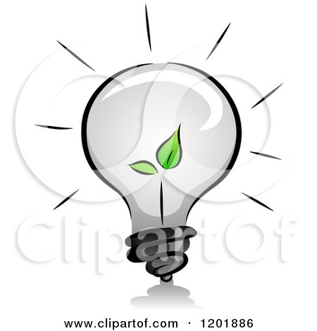 Clipart of a Grayscale Lightbulb with a Green Seedling Plant - Royalty Free Vector Illustration by BNP Design Studio