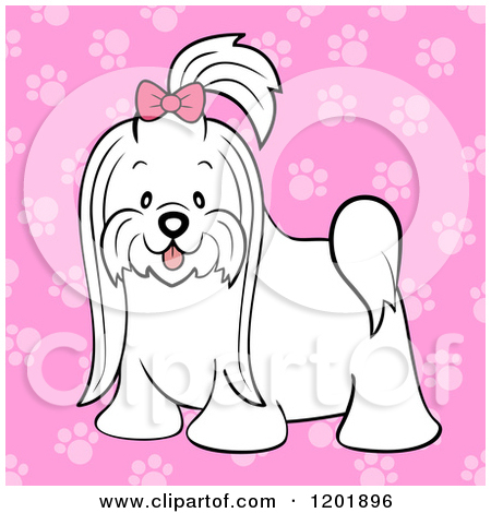 Cartoon of a Cute Long Hair Maltese Dog with a Pink Bow over Pink Paw