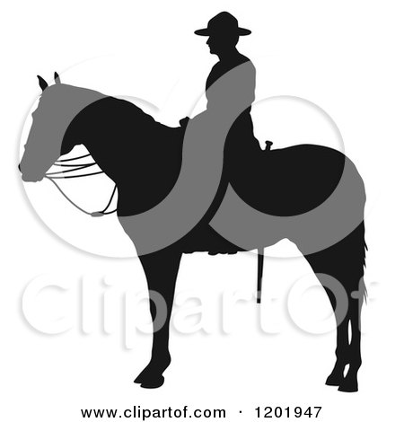 Clipart of a Black and White Silhouetted Man Mounted on Horseback - Royalty Free Vector Illustration by Maria Bell