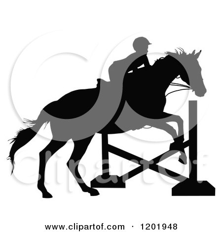 Clipart of a Black and White Silhouetted Horseback Girl Leaping a Post - Royalty Free Vector Illustration by Maria Bell